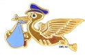 Blue Stork Pin with military clutch back