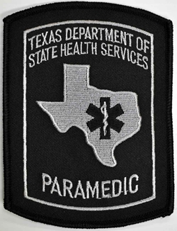 Texas Paramedic Patch with Star of Life - Black and Grey