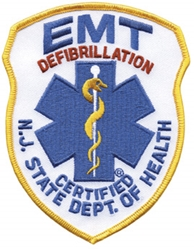 New Jersey EMT -Defibrillator Patch Royal on White