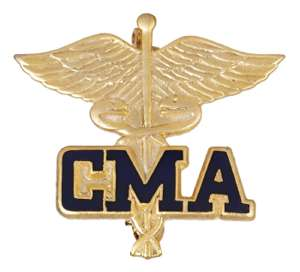 CMA on Caduceus Emblem Pin