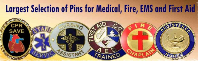 Hundreds of lapel pins for medial, fire, rescue, police, ambulance and first aid.