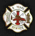 9 years fire Service pin