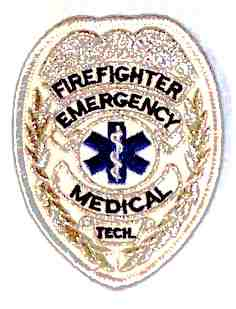 Firefighter Emergency Medical Tech Badge, Silver