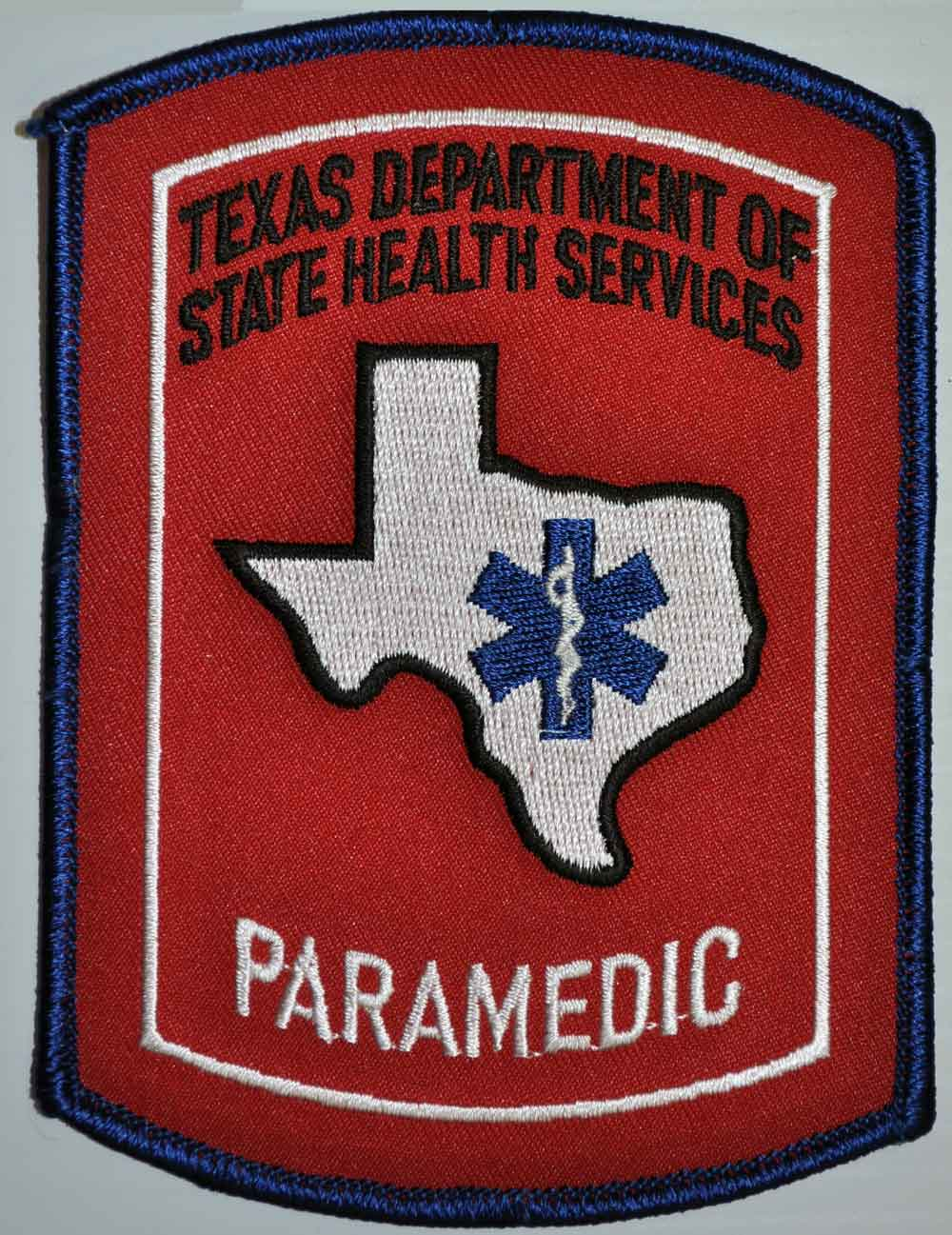 Texas Paramedic Patch with Star of Life - Color