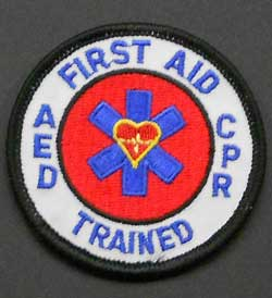 First Aid, CPR, AED Trained Mini Patch first aid patch, cpr-aed patch, aed patch, first aid patches,